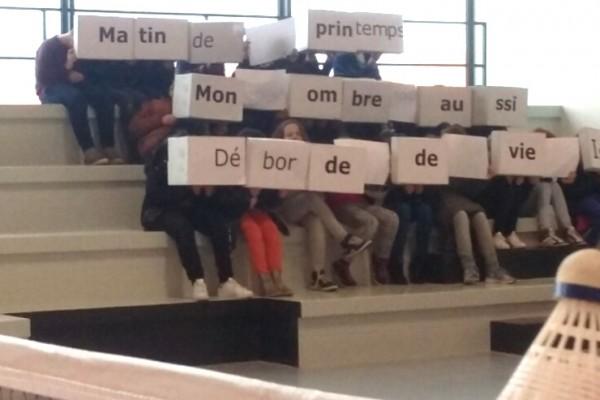 Un tifo poétique pour le nouveau gymnase - Classe de 6ème du collège Vercingétorix