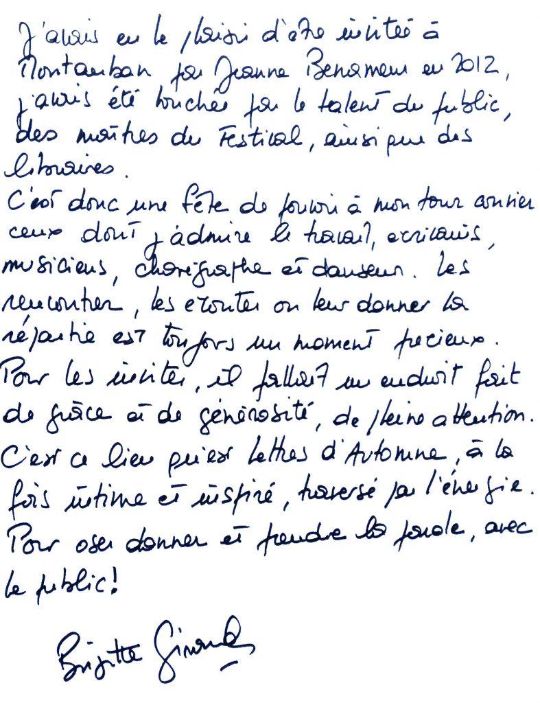 Lettres d'Automne 2016 : Le mot de Brigitte Giraud