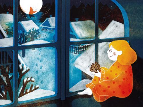 """Dessin extrait de l'album """"Vassilia et l'ours"""" (texte Françoise de Guibert) paru en 2019 aux éditions Seuil Jeunesse, illustration de Laura Fanelli"""