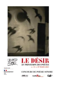 Affiche officielle printemps des poètes 2021 et concours de poésie sonore à Montauban avec la Mémo et Confluences