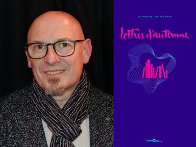 Portrait de Brice Torrecillas et visuel de la librairie du festival Lettres d'automne